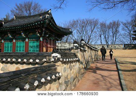 Jinju, South Korea - February 16, 2011 - Tower or temple. Jinjuseong Fortress in February 16, 2011, Jinju, South Korea.