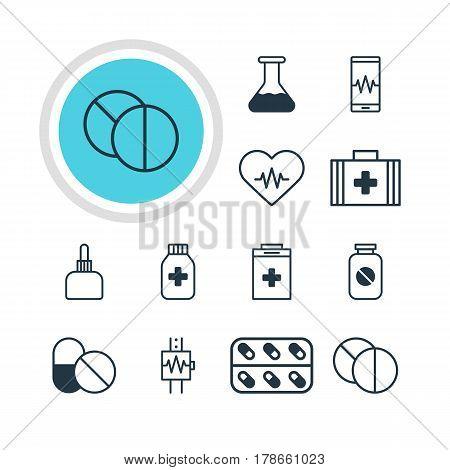 Vector Illustration Of 12 Medicine Icons. Editable Pack Of Exigency, Medicine Jar, Medical Bag And Other Elements.