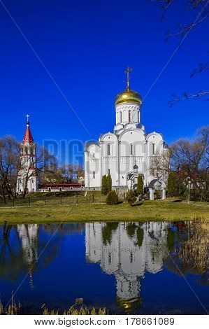 Minsk Belarus - March 23 2017 Holy Protection Church on Avenue of Winners against the blue sky architectural monument editorial