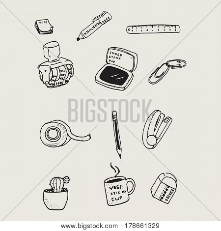 Hand drawn stationary doodles pattern element background.