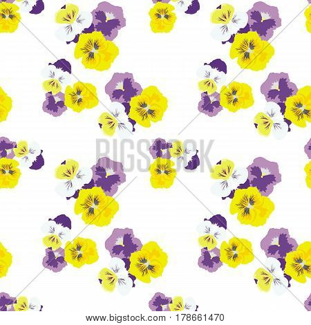 Seamless floral pattern with pansies on white background. The light airy texture. Delicate fashionable background for textiles, Wallpaper, and various designs. vector