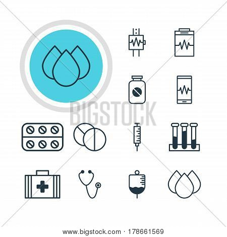 Vector Illustration Of 12 Medical Icons. Editable Pack Of Experiment Flask, Heartbeat, Treatment And Other Elements.