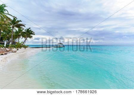 Beautiful scenery of tropical Maldives island ,