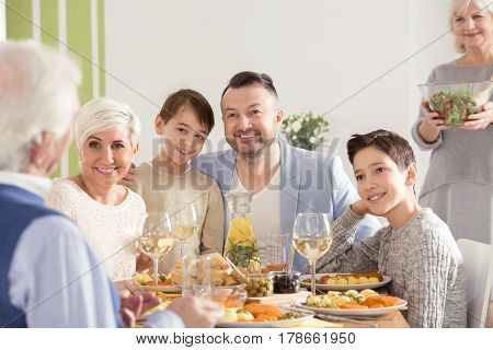 Family Celebrating Grandparent's Day