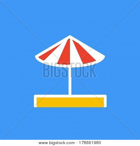 Vector icon or illustration showing beach with red white umbrella on the sand in outline style