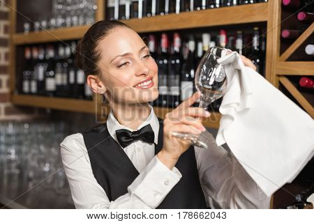 Beautiful barmaid cleaning a wine glass with a towel