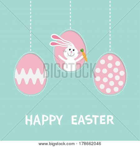 Rabbit hare with carrot. Three painting egg shell. Happy Easter text. Hanging painted egg set. Dash line. Greeting card. Flat design style. Cute decoration element. Vector illustration