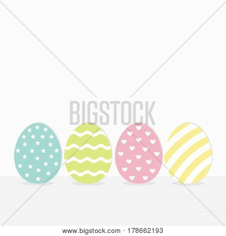 Colorful painting Easter egg set. Row of painted eggs shell. Heart star dot line striped shape pattern. Light color. White background. Isolated. Flat design. Vector illustration