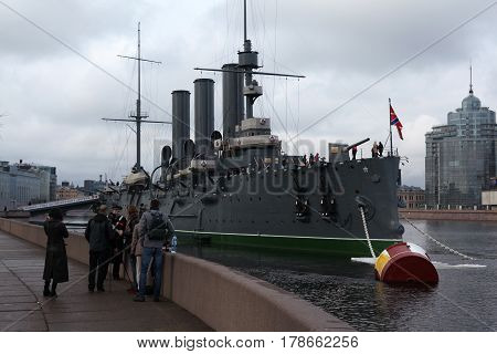 St. Petersburg, Russia - March 25, 2017: Cruiser Aurora is the symbol of the beginning of the Russian revolution. Museum tourist attraction in March 25 in St. Petersburg, Russia