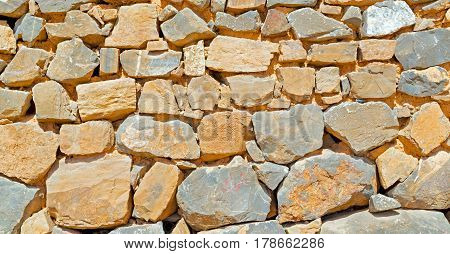 In Oman The Old Wall Near     House And Block Building Abstract Background