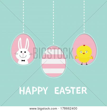 Happy Easter text. Three painting egg shell. Hanging painted egg set. Chicken bird rabbit hare. Dash line. Greeting card. Flat design style. Cute decoration element. Vector illustration