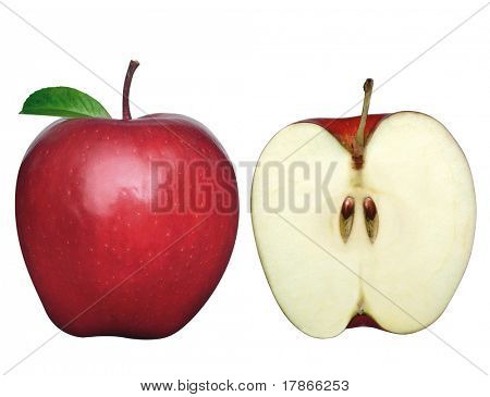 Two apples one sliced