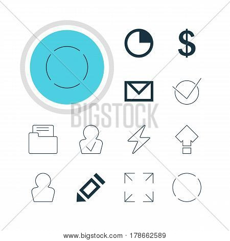 Vector Illustration Of 12 User Icons. Editable Pack Of Stopwatch, Dossier, Wide Monitor And Other Elements.