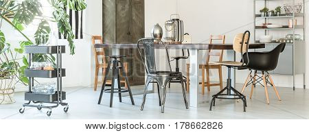 Metal Chairs In Dining Room