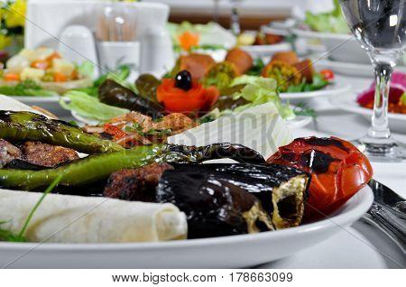 Tasty with different presentation Turkish patlican kebap