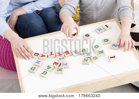 Woman And Girl Playing With Building Blocks