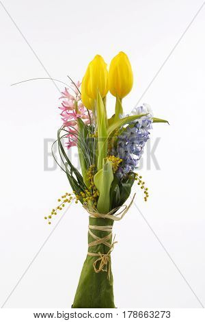 Spring tulips and hyacinth over white background