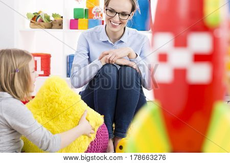 Girl Talking With Psychologist