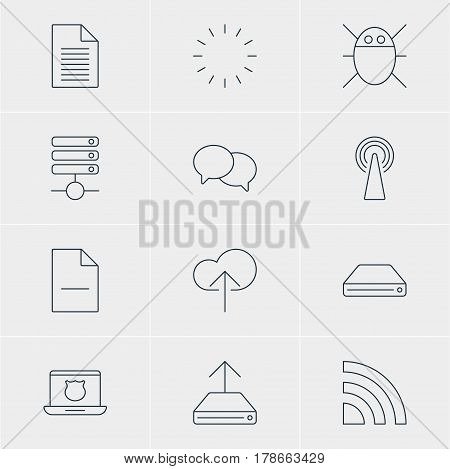 Vector Illustration Of 12 Network Icons. Editable Pack Of Wireless Network, Secure Laptop, Server And Other Elements.