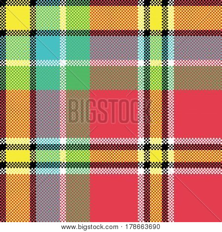 Check fabric texture square pixel seamless pattern. Vector illustration.