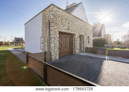Villa With Wood Fence