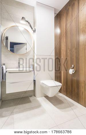 Modern Toilet With White Walls