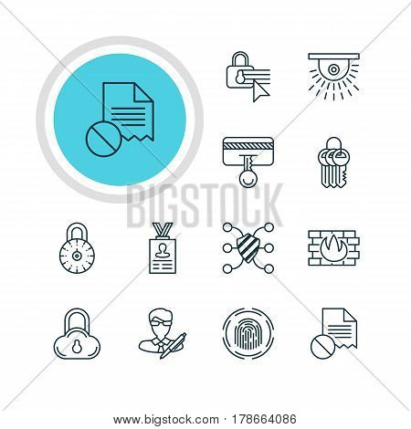 Vector Illustration Of 12 Web Safety Icons. Editable Pack Of Camera, Finger Identifier, Data Error And Other Elements.