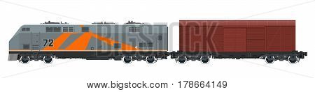 Orange Locomotive with Closed Wagon Isolated on White Background, Train ,Railway and Cargo Transport ,Vector Illustration