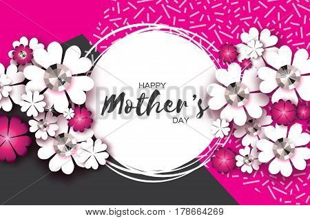 Happy Mothers Day. Floral Greeting card with Brilliant stones. Paper cut flower. International Happy Womens Day. Floral holiday. Beautiful bouquet. Circle frame. Space for text. Vector illustration.