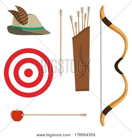 Bow arrows and a target. Flat design vector illustration vector.