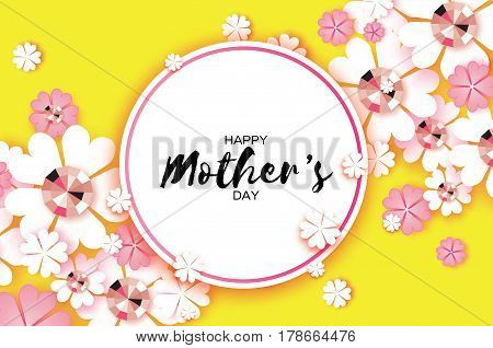 Happy Mothers Day. Floral Greeting card with Brilliant stones. Paper cut flower. Happy Womens Day. Floral holiday. Beautiful bouquet. Circle frame. Yellow. Space for text. Vector illustration.