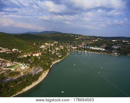 Aerial view on Abrau Durso township and lake, Caucasus, Russia