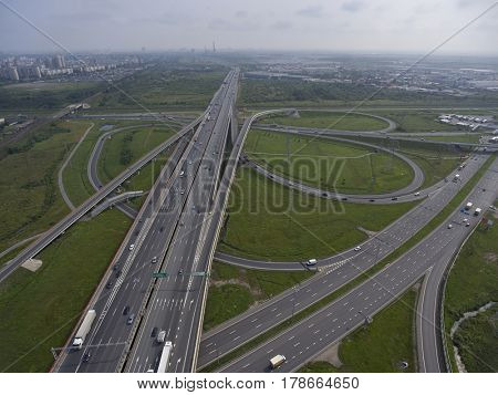 Aerial view on roads junction in Saint Petersburg, Russia