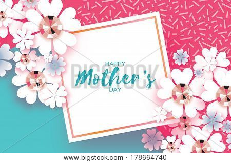 White Floral Greeting card with Brilliant stones. Happy Mothers Day. Women's Day with Paper cut flower. Floral holiday. Beautiful bouquet. Square frame. Pink. Blue. Vector illustration.