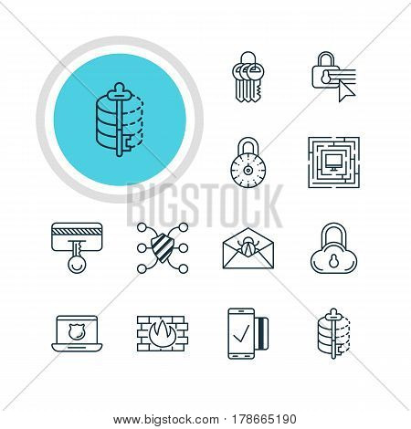 Vector Illustration Of 12 Web Safety Icons. Editable Pack Of Safe Lock, Encoder, Safe Storage And Other Elements.