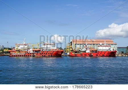 Labuan,Malaysia Mar 25,2017: Offshore oil & gas sea construction & support vessels at port of Labuan,Malaysia. All the vessels port in Labuan island, most related to the offshore Oil & Gas industry.
