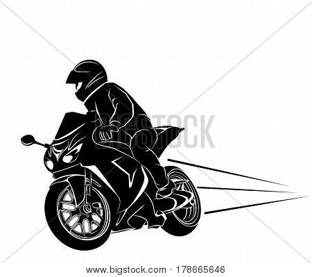 Vector illustration of a biker on a sportbike