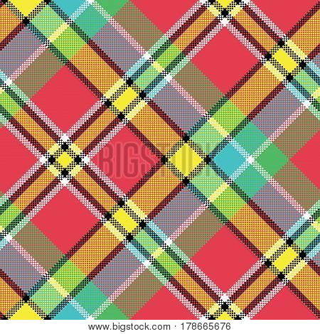 Madras diagonal fabric texture pixeled seamless pattern. Vector illustration.