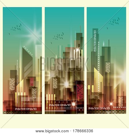 Modern Cityscapes 3 Vertical Banners