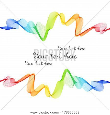 Bright Rainbow Frame of Wave Lines on White Background. Colorful Template for Text Cover Header.