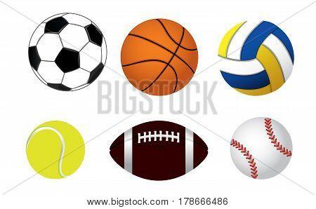 Vector illustration of a set of six balls