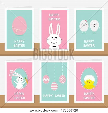 Happy Easter greeting card set on the shelf. Hanging painted egg on dash lin bunny rabbit hare holding carrot. Chicken bird with shell. Blue Pink background. Baby characters. Flat design. Vector