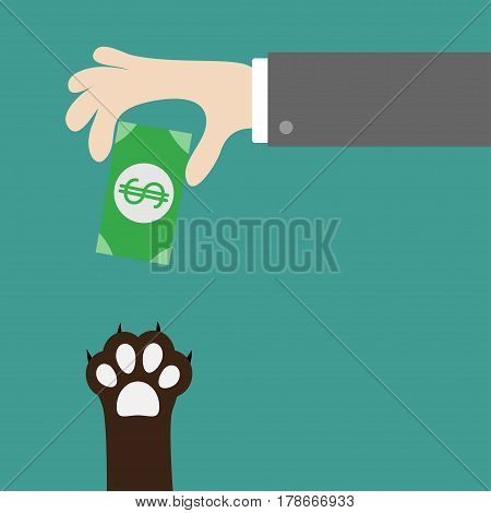 Hand giving paper money cash with dollar sign. Dog cat paw print taking gift. Adopt donate help love pet animal. Helping hand concept. Flat design style. Green background. Vector illustration.