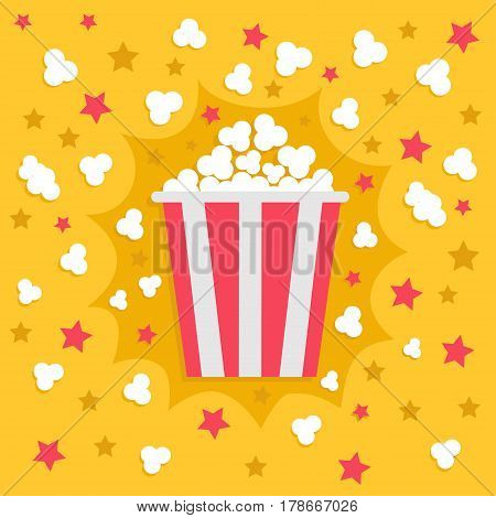 Popcorn popping explosion. Red yellow strip box package. Fast food. Cinema movie night icon in flat design style. Star shadow element. Yellow background. Vector illustration