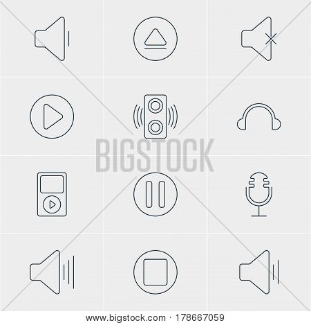 Vector Illustration Of 12 Music Icons. Editable Pack Of Lag, Volume Up, Soundless And Other Elements.