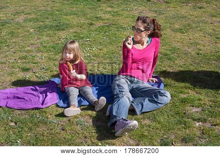woman mother with pink shirt and blue jeans and three years old blonde child eating ice lolly or popsicle sitting in blue towel on green grass field in public park