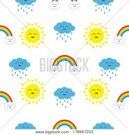 Cute cartoon kawaii sun cloud with rain rainbow set. Smiling face emotion. Baby character Seamless Pattern Wrapping paper textile template. White background. Flat design. Vector illustration.
