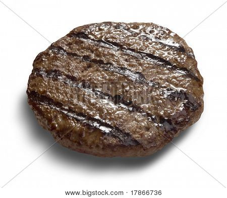 Juicy grilled hamburger isolated with clipping path