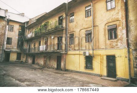 Old yard with vintage buildings