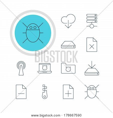 Vector Illustration Of 12 Web Icons. Editable Pack Of Server, Data Upload, Router And Other Elements.